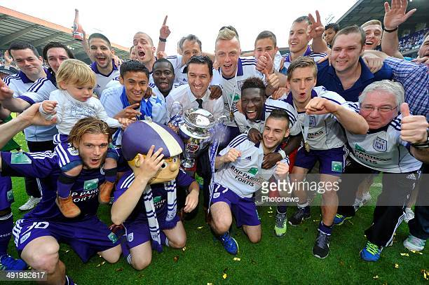 Team RSC Anderlecht with coach Besnik Hasi of RSC Anderlecht celebrating winning the Jupiler Pro League title 2013 2014 for the 33nd time in the...