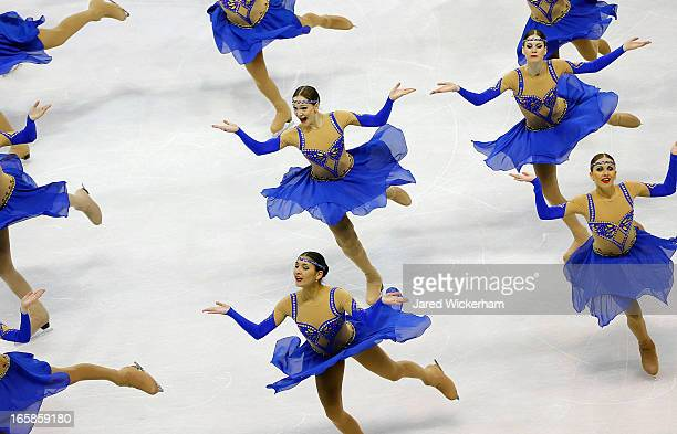 Team Russia 2 performs during the free skating competition of the ISU World Synchronized Skating Championships at Agganis Arena on April 6 2013 in...