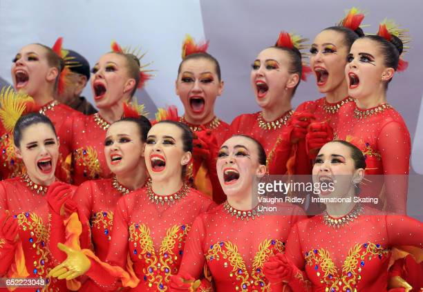 Team Russia 2 reacts after winning Gold following the Free Program during the ISU World Junior Synchronized Skating Championships at Hershey Centre...
