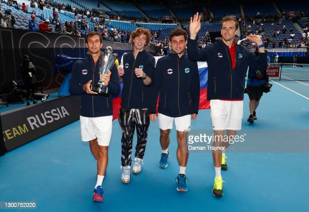 Team Russia celebrate after defeating Italy in the final of the ATP Cup during day six of the 2021 ATP Cup at Rod Laver Arena on February 07, 2021 in...