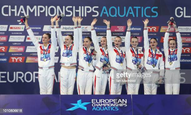 Team Russia celebrate after winning the gold medal in the Sychronised Swimming Team Free Routine Final during Day three of the European Championships...