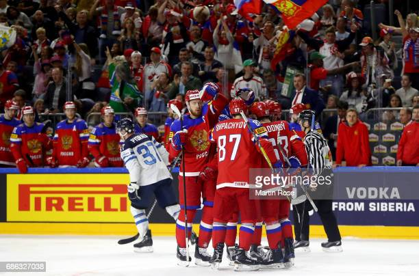 Team Russia celebrate their 3rd goal during the 2017 IIHF Ice Hockey World Championship Bronze Medal game between Russia and Finland at Lanxess Arena...