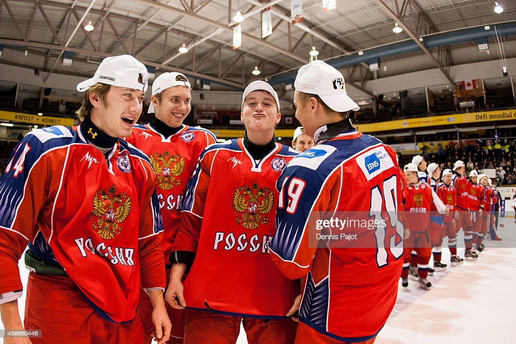 Team Russia celebrates a 2-1 win over the United States during the gold medal game at the World Under-17 Hockey Challenge on November 8, 2014 at the RBC Centre in Sarnia, Ontario, Canada.