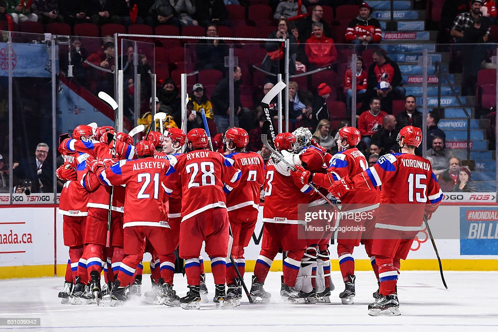 Team Russia celebrates their victory over Team Sweden and win the bronze medal round during the 2017 IIHF World Junior Championship at the Bell Centre on January 5, 2017 in Montreal, Quebec, Canada. Team Russia defeated Team Sweden 2-1 in overtime to win the bronze medal.