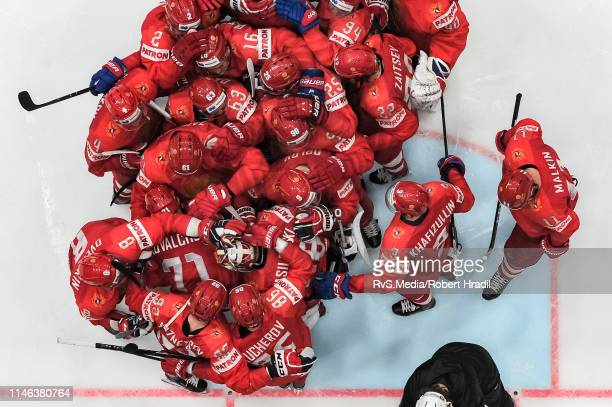 Team Russia celebrates their win over team Czech Republic after the 2019 IIHF Ice Hockey World Championship Slovakia third place play-off game...