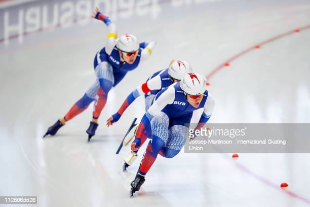 Team Russia compete in the Ladies Team Sprint during day 1 of the ISU World Single Distances Speed Skating Championships at Max Aicher Arena on...
