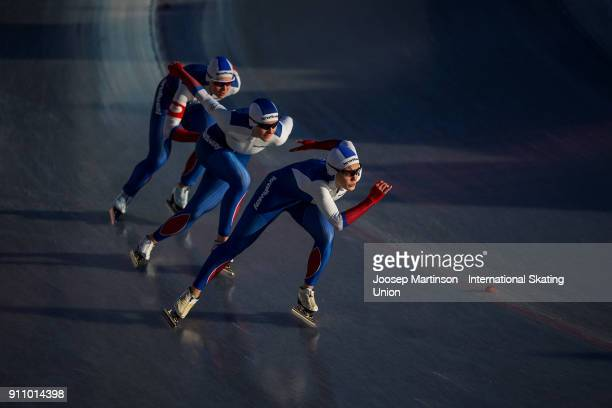Team Russia compete in the Ladies Team Sprint during the ISU Junior World Cup Speed Skating at Olympiaworld Ice Rink on January 27 2018 in Innsbruck...