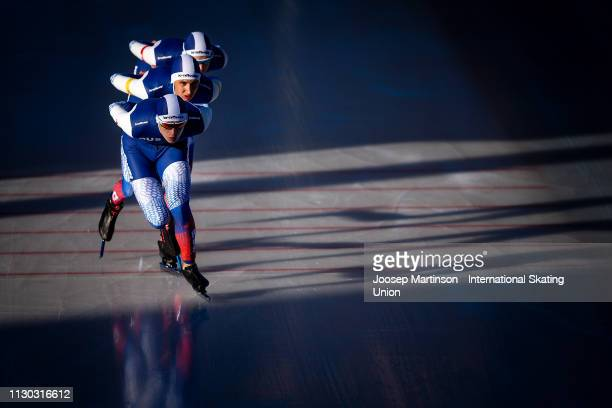 Team Russia compete in the Men's Team Pursuit during day 3 of the ISU World Junior Speed Skating Championships Baselga Di Pine at Ice Rink Pine on...