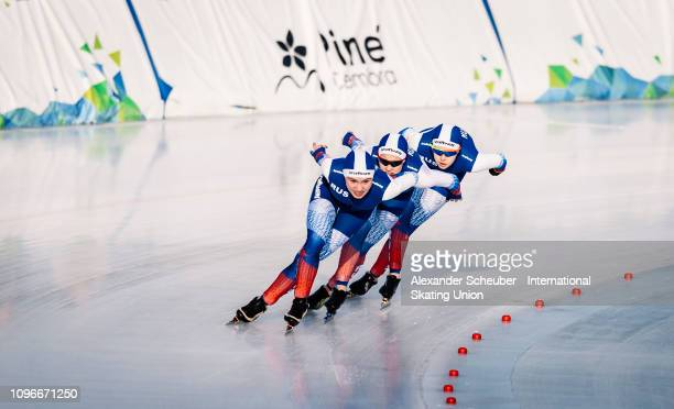 Team Russia competes in the Ladies Team Pursuit sprint race during the ISU Junior World Cup Speed Skating Final day 1 on February 9 2019 in Trento...