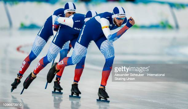 Team Russia competes in the Mens Team Pursuit sprint race during the ISU Junior World Cup Speed Skating Final day 1 on February 9 2019 in Trento Italy