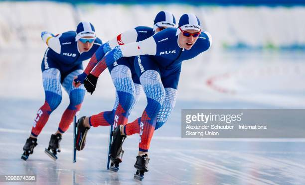 Team Russia competes in the NeoSenior Mens Team Pursuit sprint race during the ISU Junior World Cup Speed Skating Final day 1 on February 9 2019 in...