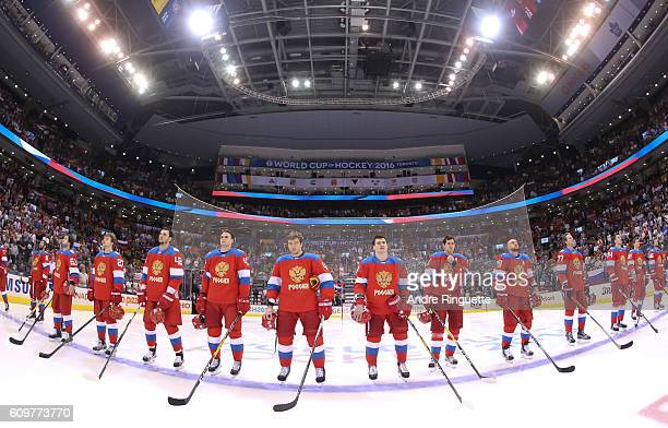 Team Russia lines up prior to the game against Team Finland during the World Cup of Hockey 2016 at Air Canada Centre on September 22 2016 in Toronto...
