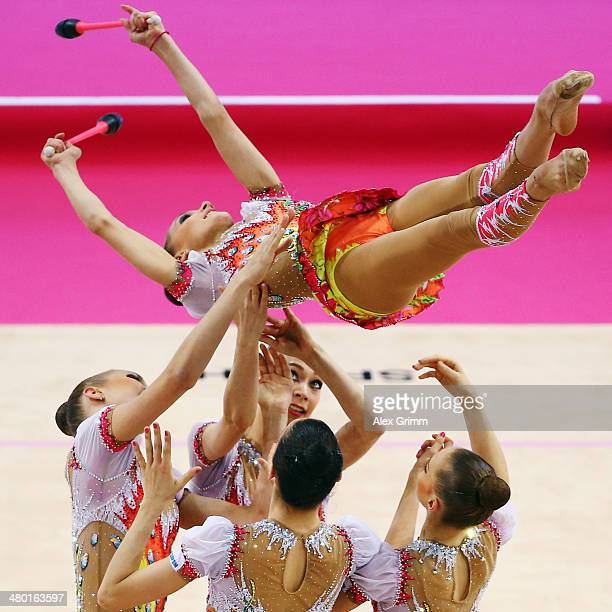 Team Russia performs during the group clubs final of the GAZPROM World Cup Rhythmic Gymnastics 2014 at the Porsche Arena on March 23 2014 in...