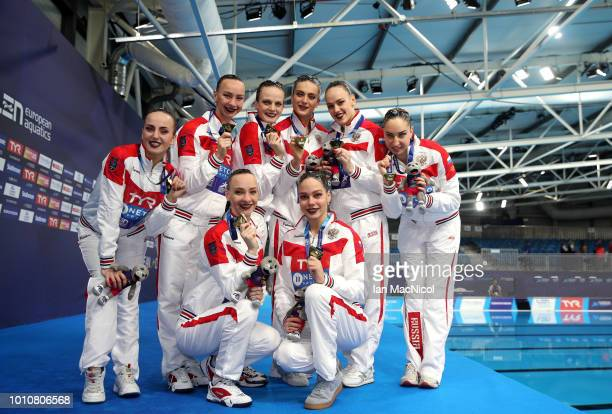 Team Russia pose after winning the gold medal in the Sychronised Swimming Team Free Routine Final during Day three of the European Championships...