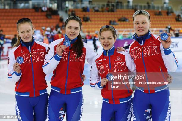 Team Russia pose in the Ladies 3000m relay medal ceremony during day two of the ISU World Cup Short Track at Minsk Arena on February 12 2017 in Minsk...
