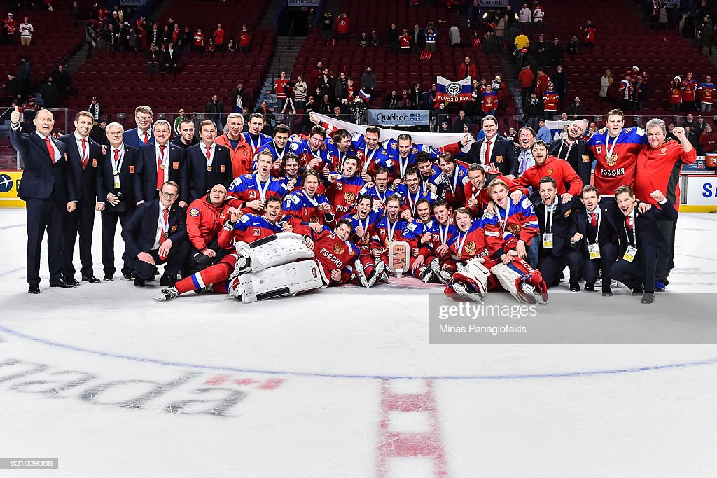 Team Russia poses for a team photo during the 2017 IIHF World Junior Championship bronze medal game against Team Sweden at the Bell Centre on January 5, 2017 in Montreal, Quebec, Canada. Team Russia defeated Team Sweden 2-1 in overtime to win the bronze medal.