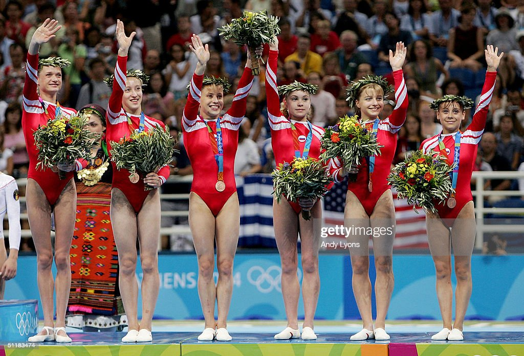 Team Russia receives the bronze medal in women's artistic gymnastics