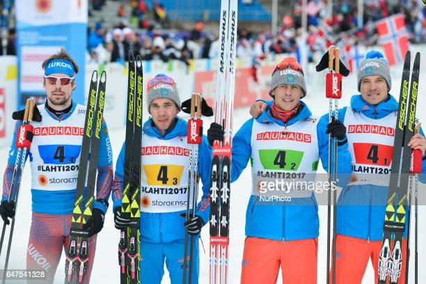 Team Russia Sergey Ustiugov, Alexey Chervotkin, Alexander Bessmertnykh, Andrey Larkov, take the second place in Men cross-country 4 x 10.0km Relay...