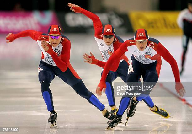 Team Russia skates to third place in the Men's Team Pursuit at the 2007 ISU World Single Distances Speed Skating Championships on March 11 2007 at...