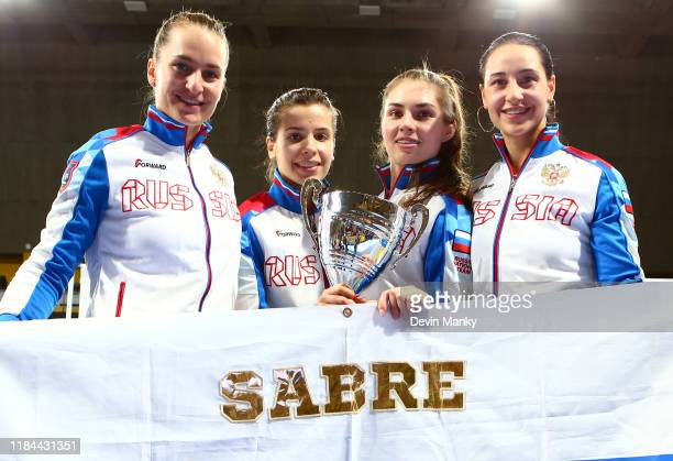 Team Russia Sofya Velikaya Olga Nikitina Sofia Pozdniakova Yana Egorian win the gold medal during the team competition at the Women's Sabre World Cup...