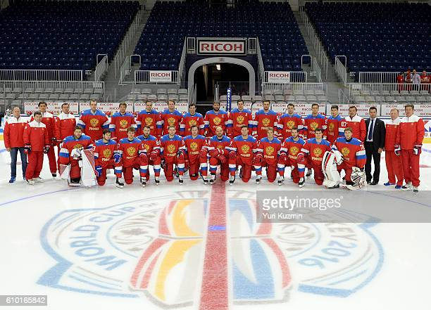 Team Russia takes time for a team photo at practice during the World Cup of Hockey 2016 at Ricoh Coliseum on September 21 2016 in Toronto Ontario...