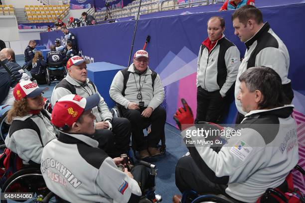 Team Russia talks with head coach Anton Batugin the World Wheelchair Curling Championship 2017 test event for PyeongChang 2018 Winter Olympic Games...