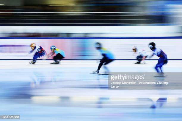 Team Russia, team Kazakhstan and team Korea compete in the Men's 5000m relay semi final during day one of the ISU World Cup Short Track at Minsk...
