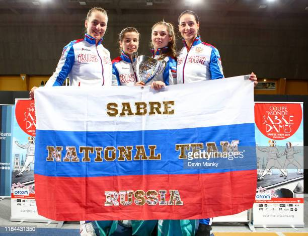 Team Russia win the gold medal during the team competition at the Women's Sabre World Cup on November 24 2019 at the Palais des Sports in Orleans...