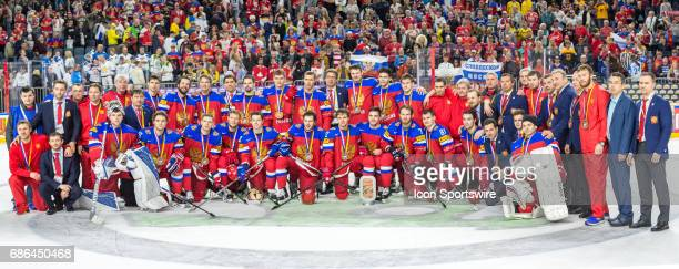 Team Russia with bronze medals after the Ice Hockey World Championship Bronze medal game between Russia and Finland at Lanxess Arena in Cologne...