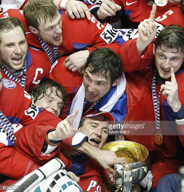Team Russia with the trophy after winning in overtime over Canada 54 during the gold medal game at the 2008 IIHF World Championships on May 18 2008...
