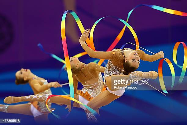 Team Russian Federation compete in the Gymnastics Rhythmic Group AllRound Final during day five of the Baku 2015 European Games at the National...