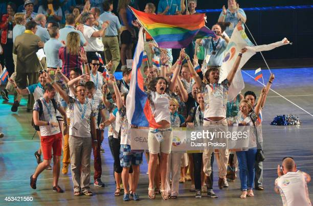 Team Russian Federation march during the opening ceremony of the Gay Games 2014>> at Quicken Loans Arena on August 9 2014 in Cleveland Ohio