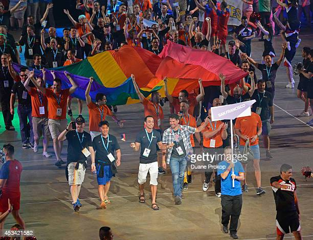 Team San Francisco march during the opening ceremony of the Gay Games 2014>> at Quicken Loans Arena on August 9 2014 in Cleveland Ohio