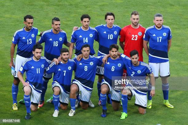 Team San Marino line-up for the FIFA 2018 World Cup Qualifier between Germany and San Marino at on June 10, 2017 in Nuremberg, Bavaria.