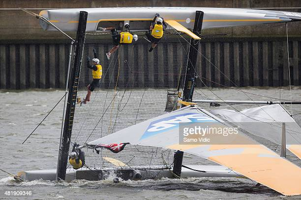 Team SAP Extreme Sailing of Denmark crash during the Extreme sailing series on July 25 2015 in Hamburg Germany