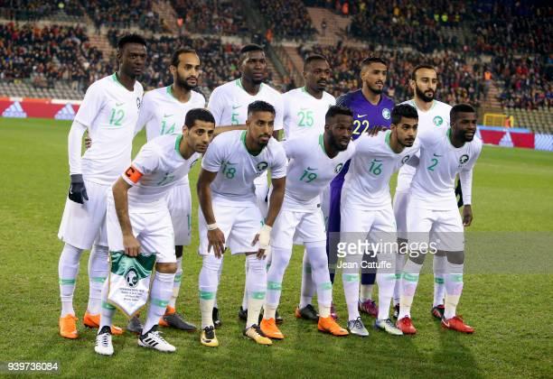 Team Saudi Arabia poses before the international friendly match between Belgium and Saudi Arabia on March 27 2018 in Brussel Belgium