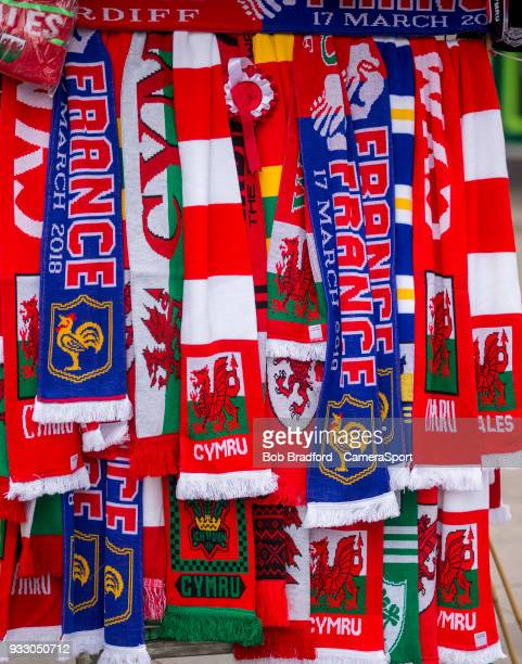 Team scarves during the NatWest Six Nations Championship match between Wales and France at Principality Stadium on March 17 2018 in Cardiff Wales