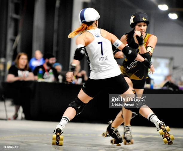 Team Scotland and Team Germany compete in Roller Derby World Cup at EventCity on February 4 2018 in Manchester England
