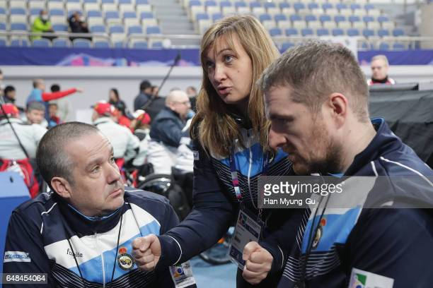 Team Scotland talks with head coach Sheila Swan the World Wheelchair Curling Championship 2017 test event for PyeongChang 2018 Winter Olympic Games...
