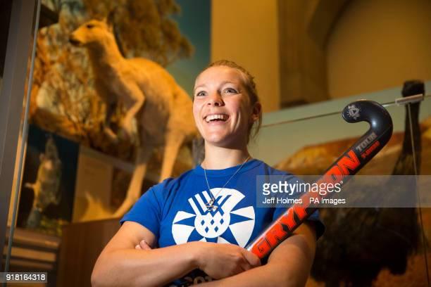 Team Scotland's hockey player Kareena Cuthbert during a photocall at Kelvingrove Art Gallery