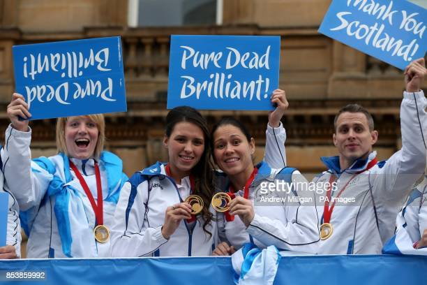 Team Scotland's Sarah Adlington Kimberley Renicks Louise Renicks and Euan Burton during the Commonwealth Games parade in Glasgow