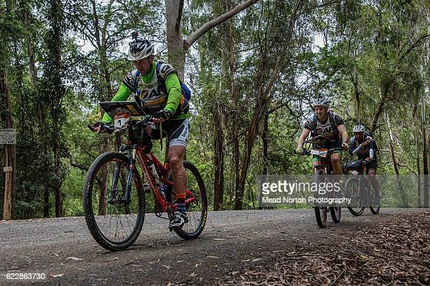 Team Seagate heading off on the bike they are the likely winnrts of the Adventure Race World Championship on Shoalhaven
