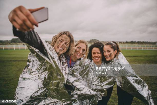 team selfie! - sports team event stock photos and pictures