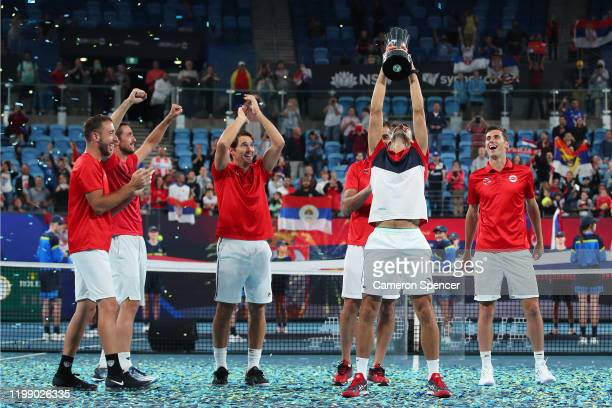 Team Serbia celebrate after defeating Spain to win the ATP Cup on day 10 of the ATP Cup at Ken Rosewall Arena on January 12 2020 in Sydney Australia
