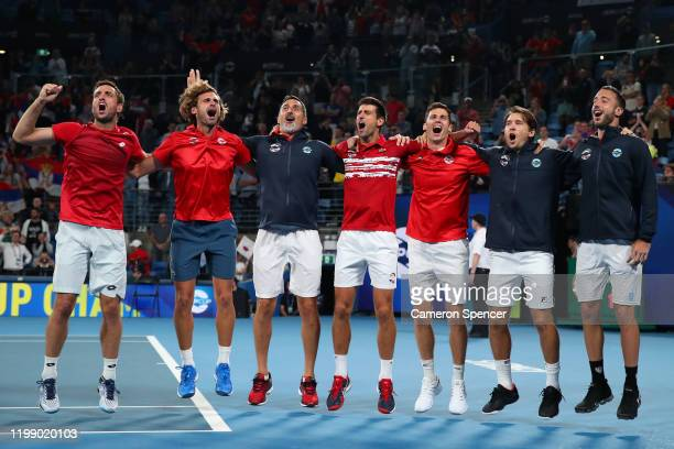 Team Serbia celebrate after winning the ATP Cup on day 10 of the ATP Cup at Ken Rosewall Arena on January 12, 2020 in Sydney, Australia.