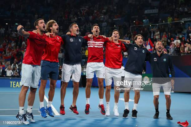Team Serbia celebrate after winning the ATP Cup on day 10 of the ATP Cup at Ken Rosewall Arena on January 12 2020 in Sydney Australia