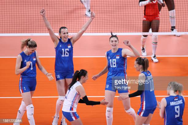 Team Serbia celebrate against Team Kenya during the Women's Preliminary - Pool A volleyball on day six of the Tokyo 2020 Olympic Games at Ariake...
