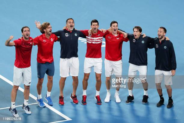 Team Serbia celebrate winning the ATP Cup final against Spain during day 10 of the ATP Cup at Ken Rosewall Arena on January 12 2020 in Sydney...
