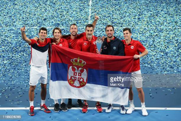 Team Serbia celebrate winning the ATP Cup final against Spain during day 10 of the ATP Cup at Ken Rosewall Arena on January 12, 2020 in Sydney,...