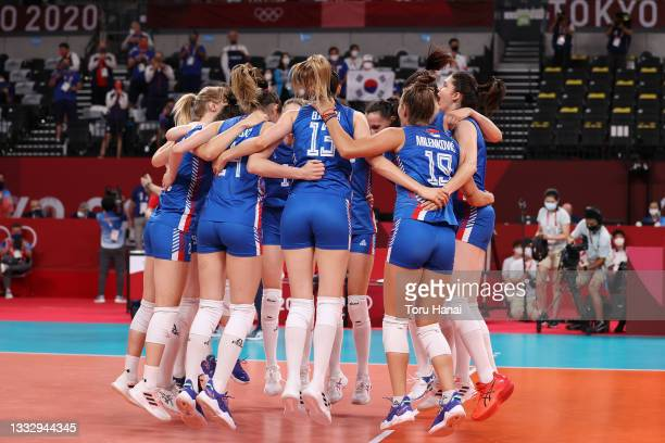 Team Serbia celebrates after defeating Team South Korea in the Women's Bronze Medal Match on day sixteen of the Tokyo 2020 Olympic Games at Ariake...